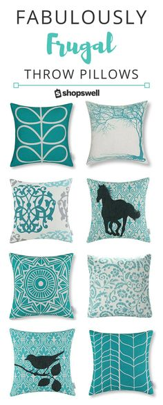 Turquoise and aqua is hot in home decor right now. Don't worry, you won't blow the budget on these designer styled pillows - they're all priced at $20 or less!