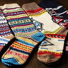 Winter socks! LOVE these colors and patterns.