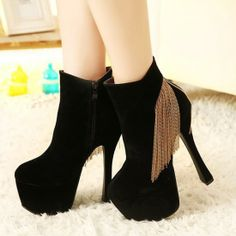 Exquisite Black Suede Round Closed Toe Chunky Super High Heel Boots