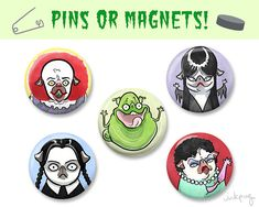 Halloween 80s / 90s cult classic pug pins or magnets!
