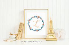 Beautiful Orange and Teal Flower Monogram | Perfect for an unconventional Orange and Teal Girl nursery! | Nursery Decor | Nursery Inspiration