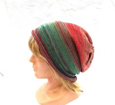 knit cotton hat knitted cotton cap striped by peonijahandmadeshop