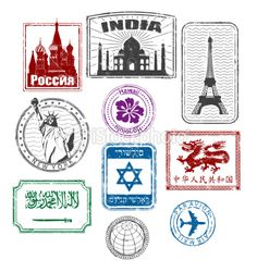 Wish you were here >>> World travel stamps Royalty Free Stock Vector Art Illustration