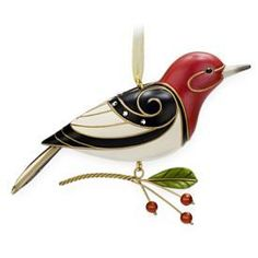 2009 Hallmark BEAUTY OF BIRDS #5 Ornament Red-Headed Woodpecker | eBay