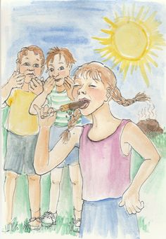"""So.. making up for lost time, here IS a garden story. """"Apple Juice Mud"""". (written by Heidi Stallman, art by Linda Cook Devona) #GreenThumb #GreenPrints #Gardening #Summer"""