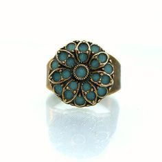 Vintage inspired ring aqua marine brass unique rings fashion jewelry 2012 antique enamel custom made ring unique gift for her on Etsy, $39.00