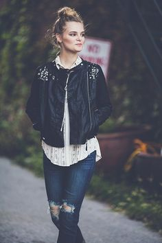 Blu pepper leather and lace moto jacket. Our fall obsession!
