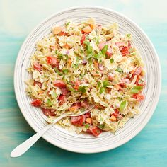 Pasta Salad with Tomato and Basil - Weight Watchers points) Basil Recipes, Ww Recipes, Salad Recipes, Cooking Recipes, Healthy Recipes, Recipies, Summer Recipes, Soup And Salad, Pasta Salad