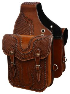 Showman Tooled leather saddle bag with antique copper hardware. This saddle bag features basket weave tooling accented with copper conchos and comes equipped with front D rings. Bag measures x x with a gusset. Leather Saddle Bags, Leather Men, Tooled Leather, Horse Gear, Horse Tack, Leather Tooling Patterns, Cowboy Gear, Cowboy Boots, Or Antique