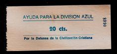 """AYUDA PARA LA DIVISION AZUL, 20 CTS, """"VOLUNTARIOS FALANGISTAS CONTRA RUSIA""""ver"""