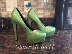 Green Glitter high heels by GlitterMeBadd on Etsy
