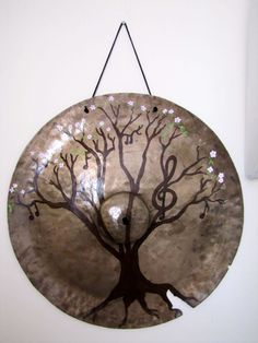 """""""The Music Tree"""" painting on a vintage 1920's Ludwig cymbal for sale at my online shop www.musicasartbysarah.etsy.com"""