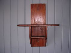 American Antique Folk Art 19th C.  Curly Maple Hanging Wall Candle Shelf Box