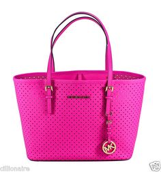 $160.00 MICHAEL KORS SMALL NEON PINK PERFORATED TRAVEL TOTE + FREE GIFT