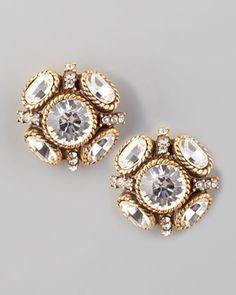 crstyal stud earrings | oscar de la renta