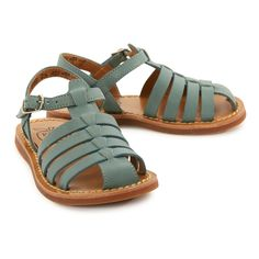 Papy Stitch Beach Sage Leather Sandals-product