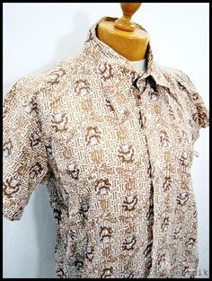 Vintage 1970s 70s Awesome Brown Indie Pattern Disco Poly Shirt XL | eBay