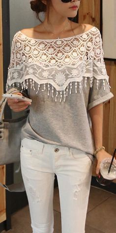 Lace Cutout Shirt Women Handmade Crochet Cape Collar Batwing Sleeve T-shirt. Love the lace and off shoulder look