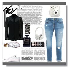 """"""":)"""" by ismahadzic ❤ liked on Polyvore featuring beauty, Frame, Converse, Balmain, Witchery, Beats by Dr. Dre, Chanel, Fujifilm, Jaeger and Marc by Marc Jacobs"""