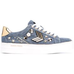 Gianni Renzi studded denim sneakers (6,805 MXN) ❤ liked on Polyvore featuring shoes, sneakers, blue, blue denim shoes, studded sneakers, blue shoes, blue sneakers and denim footwear
