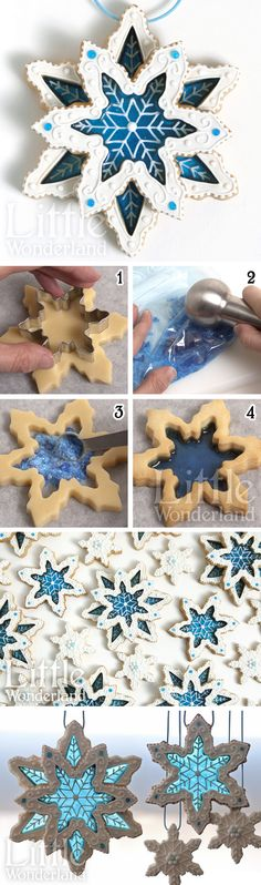 tutorial: stained glass cookies ~ dough cut-outs with sugar crystals or isomalt for transparent candy centers. Flexible technique but seen here as snowflakes, good for Christmas time, winter, or a Disney Frozen theme party | recipe & tutorial from Little Wonderland via Google Translate