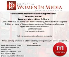 See you at the Alliance for Women in Media, SoCal Networking Mixer. Details at http://www.awmsocal.org/event-2167430 #awmsocal
