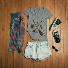 Outfit layout. Featuring the new MN Paddle Tee from sota clothing.