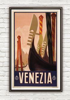 Vintage Poster of Venice Venezia  Italy Italia  1920 Tourism poster travel. 20x12. $22.00