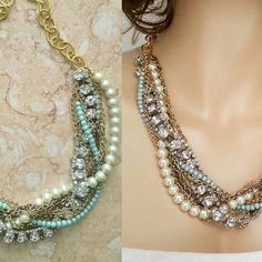 Chunky Pearl Rhinestone Statement Necklace, Bridesmaids Gift Jewelry