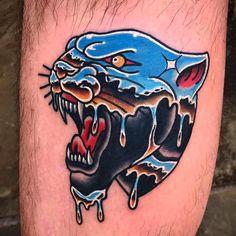 Tattoos by cfhtattooer # traditional tattoos Traditional Panther Tattoo, Traditional Tattoo Man, Kingpin Tattoo, Neotraditionelles Tattoo, Tattoo Shop, Panther Tattoos, Tatoo Star, Dessin Old School, Initial Tattoo