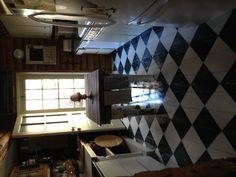 Checkered kitchen floor