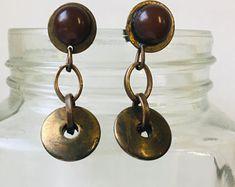 Vintage Dangle wooden Beaded Earrings Vintage Earrings Brown   Etsy Wooden Jewelry, Wooden Beads, Vintage Earrings, Vintage Jewelry, Stripe Pants, Bead Jewellery, Hippie Jewelry, Rose Earrings, Beaded Rings