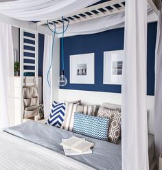 Blue hues help us sleep better and it looks clean and beautiful against a pure white furniture. | VOX 4 You bed