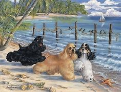 "Cocker Spaniel art print Beach scene buff, black and parti cockers ""Beach Combers"""