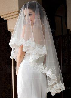 e18031f9bc  MXN  373  Uno capa Velos de novia vals con Con Aplicación de encaje