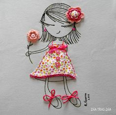 T-shirt - vma. Embroidery Applique, Embroidery Stitches, Embroidery Patterns, Machine Embroidery, Diy And Crafts, Crafts For Kids, Arts And Crafts, Applique Designs, Paper Dolls