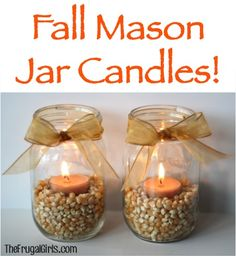 Fall Mason Jar Candles! ~ from TheFrugalGirls.com ~ spruce up your Fall mantel or Thanksgiving table with some fun Mason Jar Candles! #candle #masonjars #thefrugalgirls