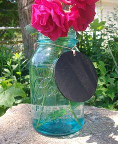 10 Wood Chalkboard Labels Tags for Vintage Mason Jar & Vase Centerpieces. $20.00, via Etsy.