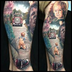 Tattoo by Paul Acker, a self-proclaimed 'horror artist' Horror Movie Tattoos, Scary Tattoos, Body Art Tattoos, Sleeve Tattoos, Cool Tattoos, Tattoo Sleves, Tatoos, Stephen King Tattoos, Paul Acker