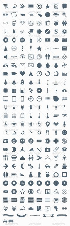 206 vector icons, signs, symbols and pictograms  - GraphicRiver Item for Sale