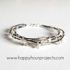 Leather star bracelet.