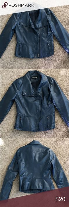 Blue/grey faux leather moto jacket Bluesish grey fake (vegan) leather moto jacket from Forever 21 size small. This is the cutest jacket I just have too many. Used but fantastic condition. Forever 21 Jackets & Coats