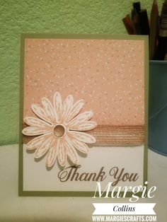 Daisy Delight Thank you card using Stampin' Up! products Margie's Crafts