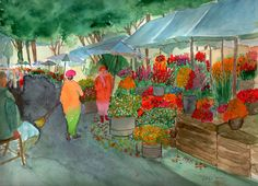 Flower market - Watercolour painting by Tjaša Kuerpick