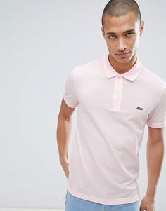 £79 Lacoste Slim Fit Logo Polo Shirt In Pink