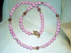 Pink Riverstone Swarovski Crystal Necklace by UnikButikJewelry, $17.00