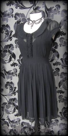 Romantic Goth Black Sheer Pleated Frill Tea Dress 12 Victorian Vintage | THE WILTED ROSE GARDEN