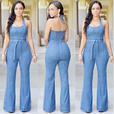Women Jean Halter Jumpsuit With Belt Item Type: Jumpsuits & Rompers… www.deathordesigner.com