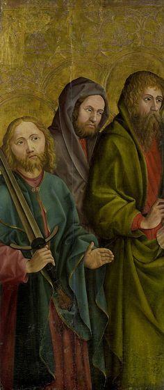 Anonymous | Three Apostles, Anonymous, c. 1500 | Drie apostelen, staande, gezien tot de knieën. De man links heeft een zwaard in de rechterhand. Waarschijnlijk een fragment van een groter geheel.