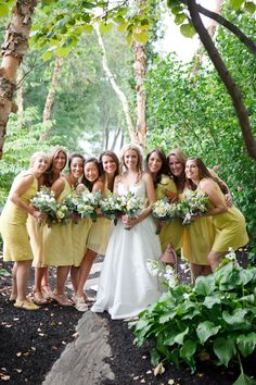 Yellow-Bridesmaids-Dresses | photography by http://www.briantropianophoto.com